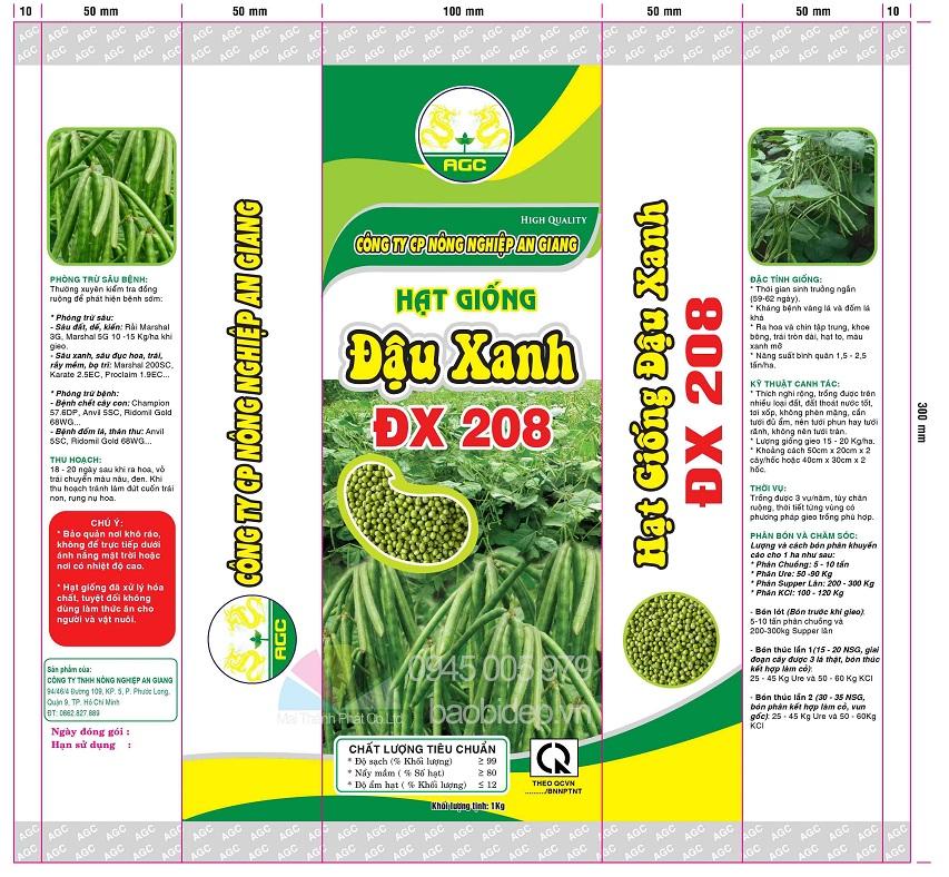 in bao bì nhựa túi đựng hạt giống đậu xanh ĐX 208 1kg